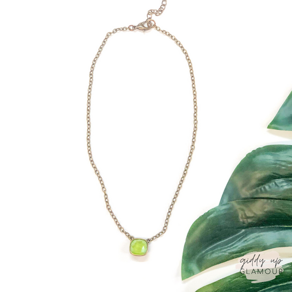 Pink Panache | Bronze Chain Necklace with Cushion Cut Crystal in Lime