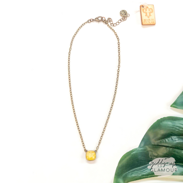 Pink Panache | Bronze Chain Necklace with Cushion Cut Crystal in Buttercup Yellow