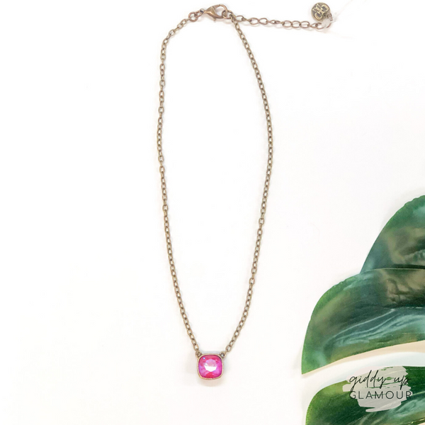 Pink Panache | Bronze Chain Necklace with Cushion Cut Crystal in Royal Red Delight