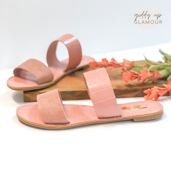 Summertime Chic Two Strap Sandals in Blush Croc