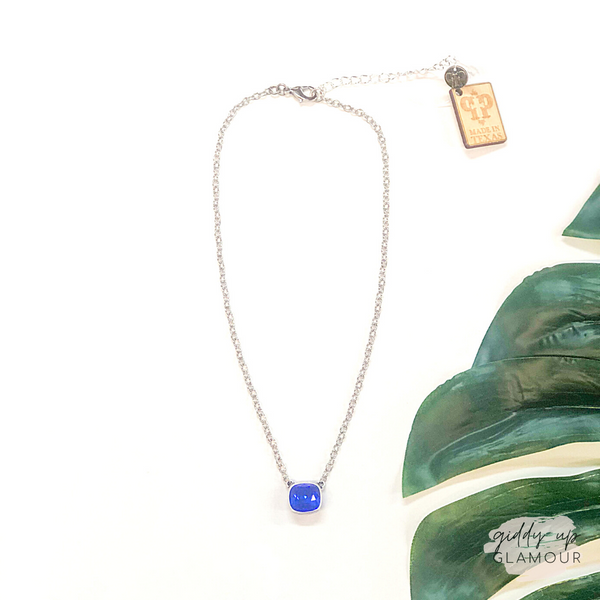 Pink Panache | Silver Chain Necklace with Cushion Cut Crystal in Majestic Blue