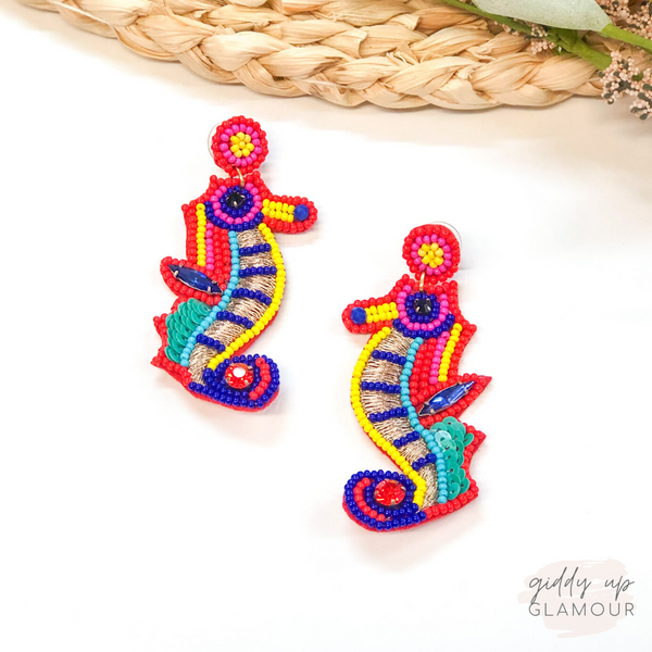 Under the Sea Colorful Beaded Seahorse Earrings
