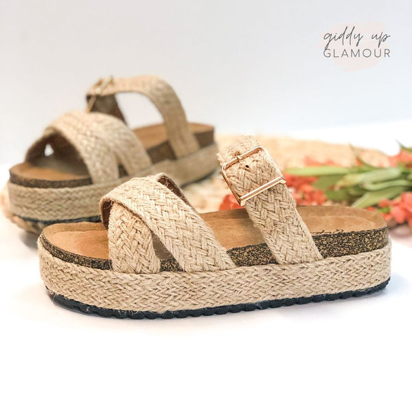 Slide My Way Espadrille Sandals in Natural Jute