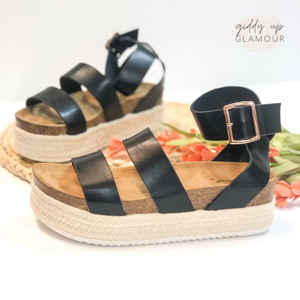 Meet Me in Cabo Strappy Espadrille Platform Sandals in Black