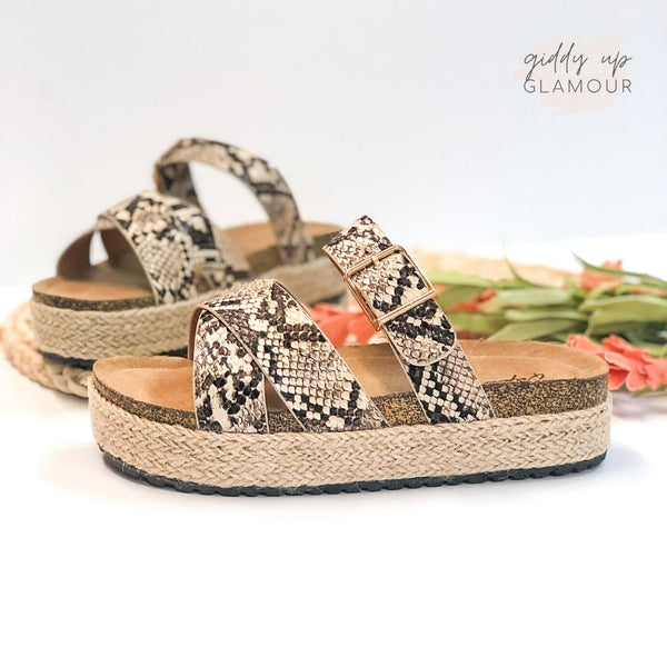 Slide My Way Espadrille Sandals in Snakeskin