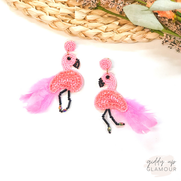 Flocking Fabulous Beaded Flamingo Earrings