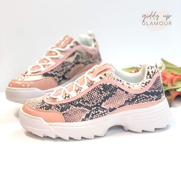 Bad Blood Chunky Lace Up Sneakers in Blush Snake