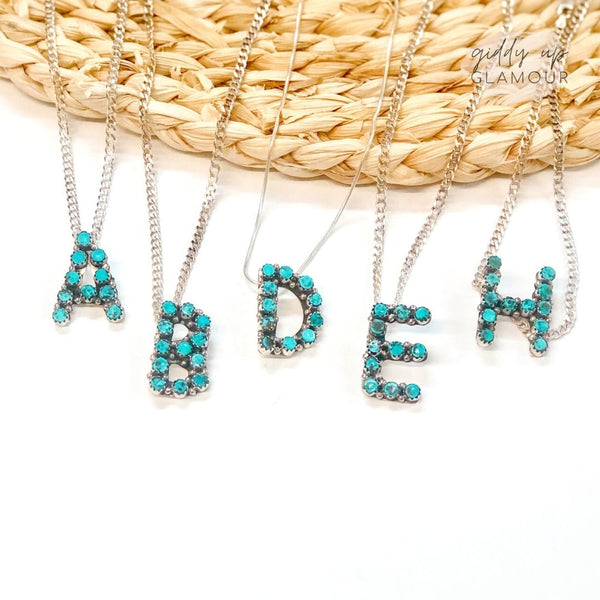 Scott Skeets | Navajo Handmade Sterling Silver and Kingman Turquoise Initial Necklace