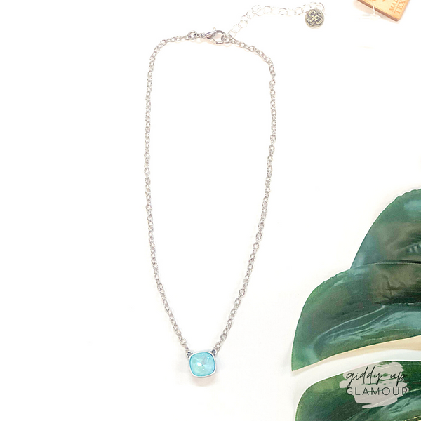Pink Panache | Silver Chain Necklace with Cushion Cut Crystal in Ultra Turquoise
