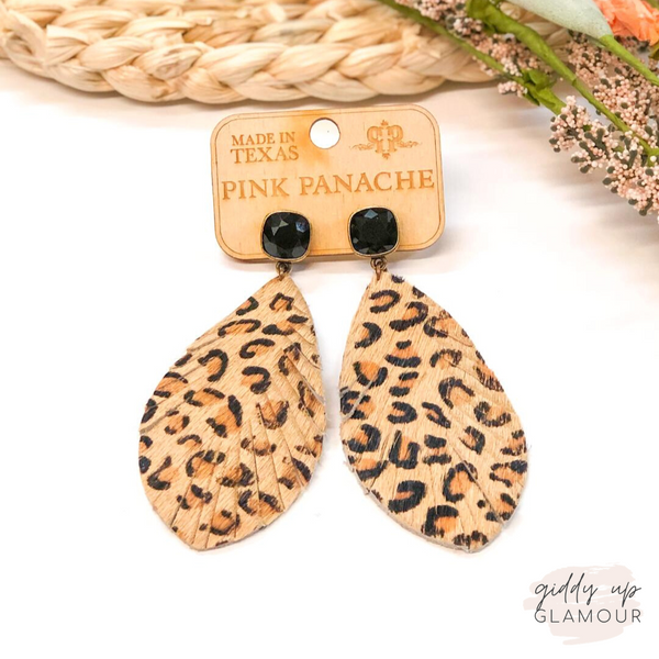 Pink Panache | Leopard Feather Earrings on Black Cushion Cut Crystal