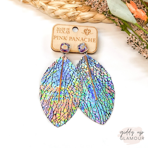 Pink Panache | Metallic Mermaid Feather Earrings with Gold Bar on AB Cushion Cut Crystal