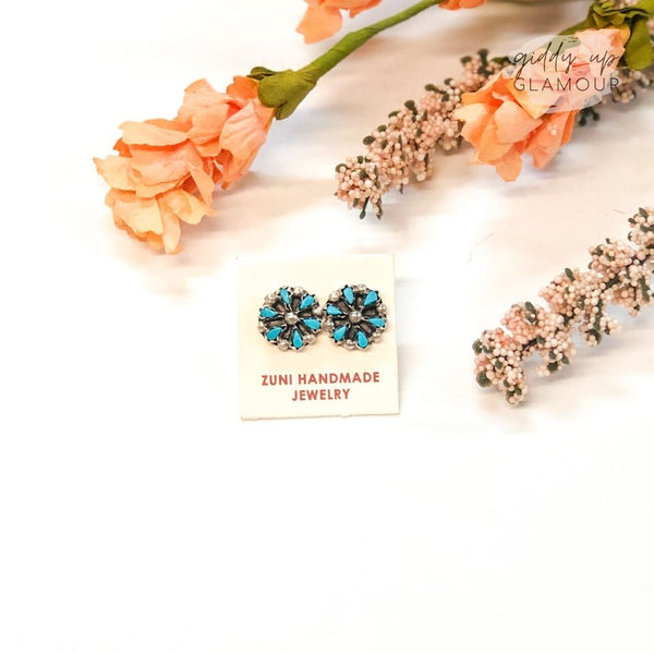 Zuni | Genuine Sterling Silver and Turquoise Flower Stud Earrings