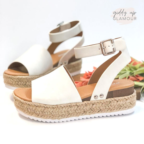 Power Strut Platform Espadrille Sandals in Off White
