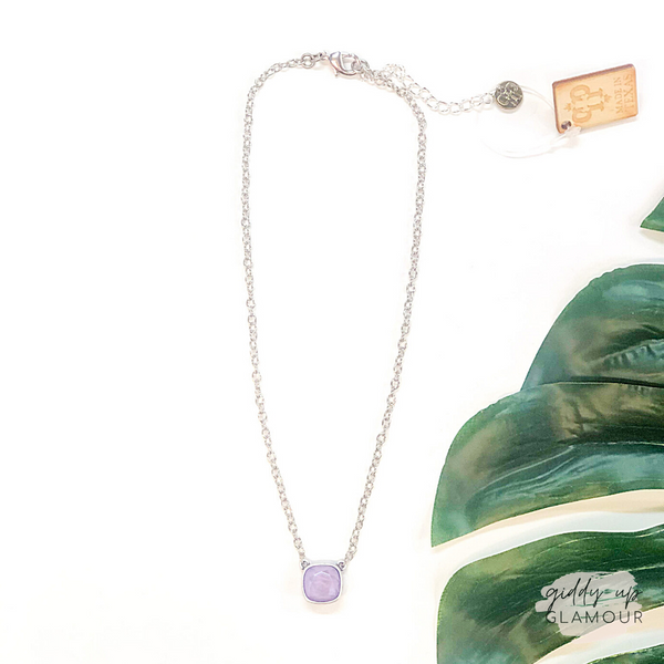 Pink Panache | Silver Chain Necklace with Cushion Cut Crystal in Lilac