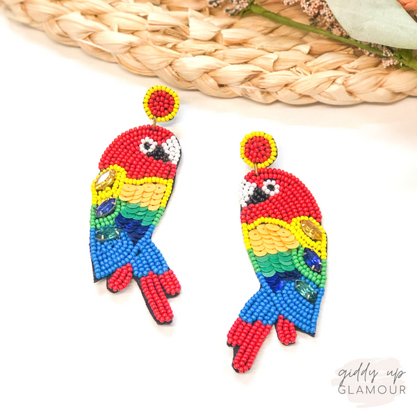 Belize Please Beaded Parrot Earrings