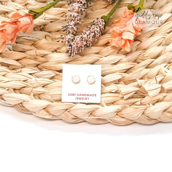 Sarah Bowannie | Zuni Handmade Sterling Silver and Opal Circle Stud Earrings