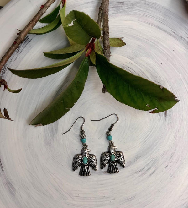 Thunderbirds with turq Earrings