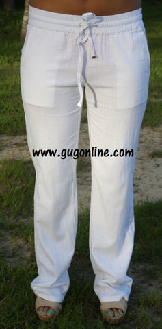 Trace Your Steps Linen Pants with Pockets in White