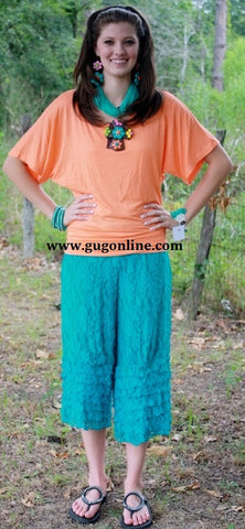 Turquoise Lace Capri with Ruffles