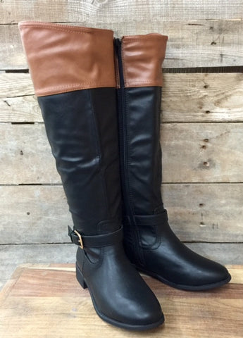 Two Tone Riding Boot in Black and Chestnut