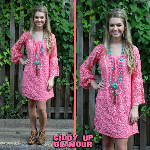 Lace The Facts Dress in Coral