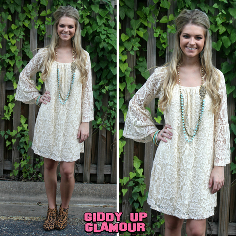 Lace The Facts Dress in Vanilla