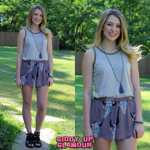 The Wild Way Bull Skull Ruffle Shorts in Lavender