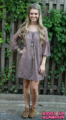 Lace The Facts Dress in Mocha