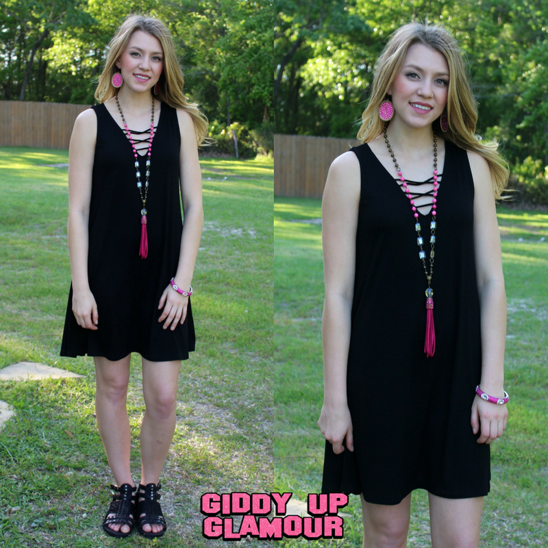Sure to Charm Sleeveless Tunic Dress with Criss Cross Front in Black
