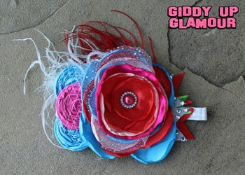 Large Red, White and Blue Flower Headband with Feathers