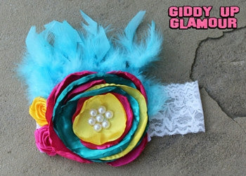 Large Hot Pink, Jade and Yellow Flower Headband with Feathers