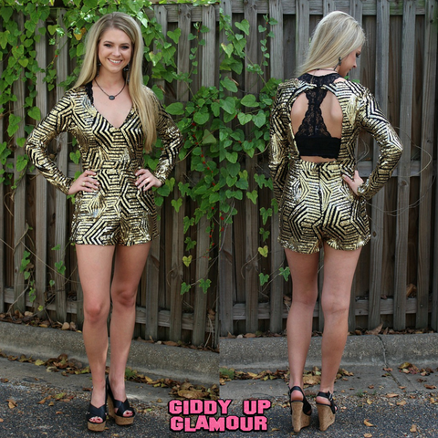 Sparkle and Shine Sequin Romper in Black & Gold