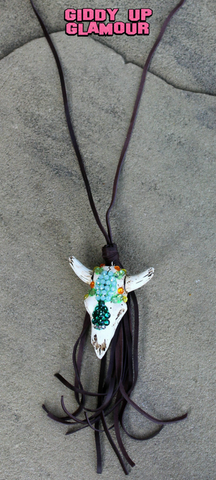 Cactus Crystal Skull Necklace with Tassel