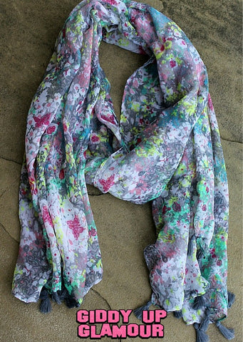 Grey Floral Scarf with Tassel Trim