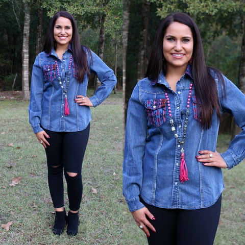 Better Than You Left Me Denim Pearl Snap Shirt in Aztec