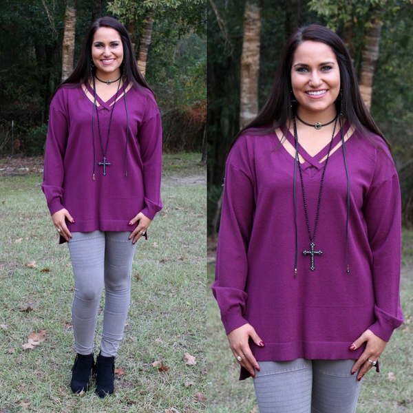 City Grid Sweater with Cross Neckline in Maroon