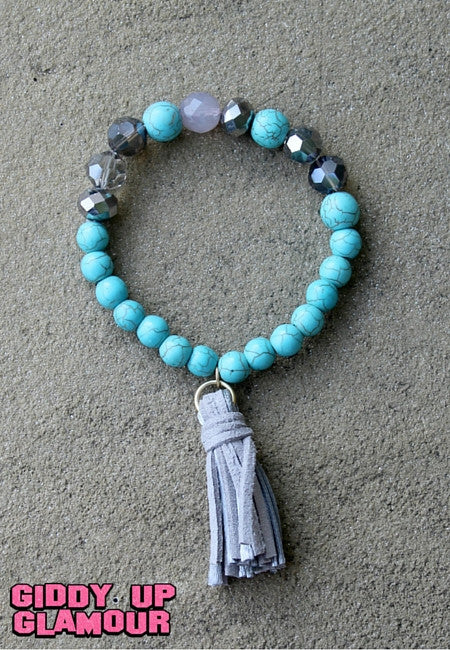 Turquoise Bead and Crystal Stretch Bracelet with Grey Tassel