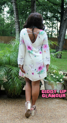 All Summer Long Floral Dress with Lace Trim in Ivory