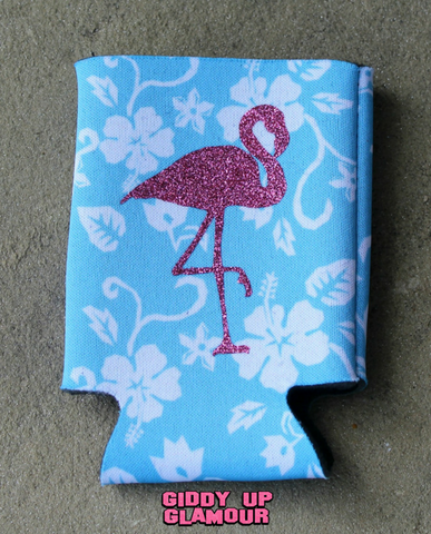 Blue Hawaiian Koozie with Pink Glitter Flamingo