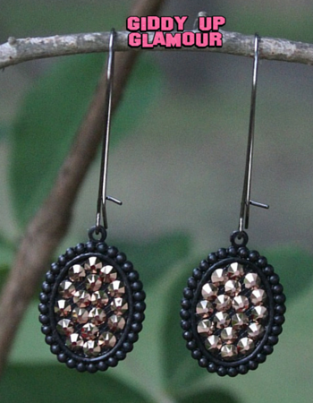 Pink Panache Mini Black Matte Oval Earrings with Rose Gold Crystals on Kidney Wire