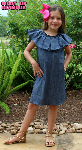 Childrens: de Nimes Denim Off Shoulder Ruffle Dress