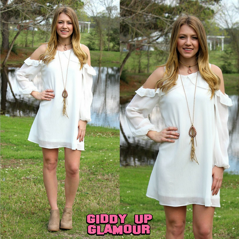 Ambitious Ways Cold Shoulder Dress in White