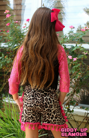 Childrens: Leopard Lover Tassel Trimmed Shorts in Hot Pink