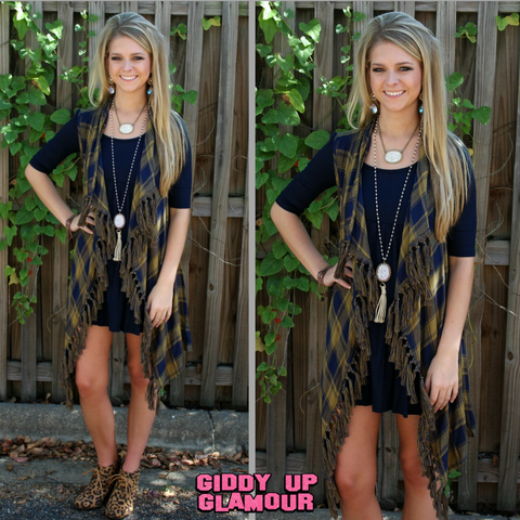 Cabin Weekend Plaid Vest with Fringe Trim in Navy