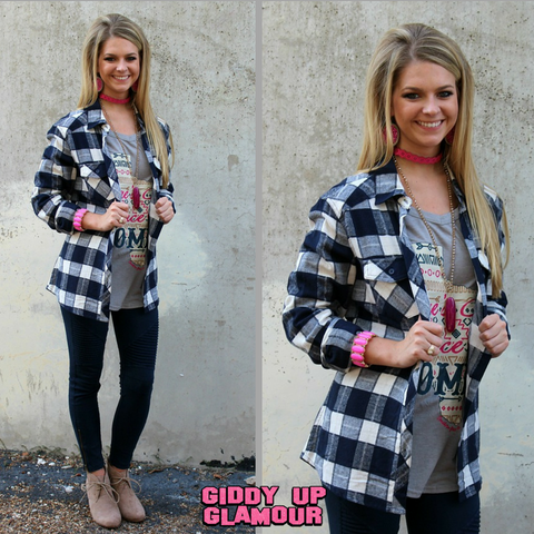 Cute as a Button Long Sleeve Flannel Plaid Button Up Shirt in Navy