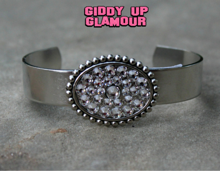 Pink Panache Silver Cuff with Clear Crystal Oval