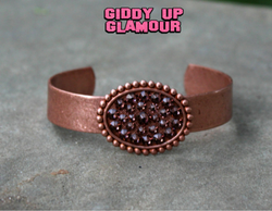 Pink Panache Rose Gold Cuff with Rose Blush Crystal Oval | ONLY 1 LEFT