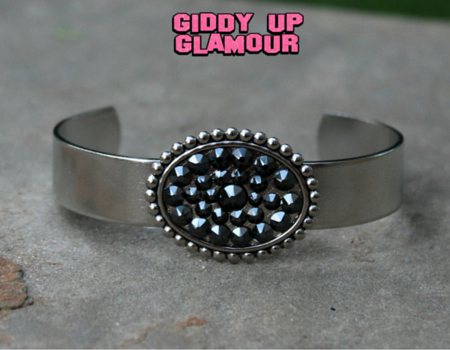 Pink Panache Silver Cuff with Black Crystal Oval