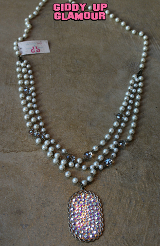 Pink Panache Long Pearl and Crystal Necklace with Large Bronze Oval Covered in AB Crystals