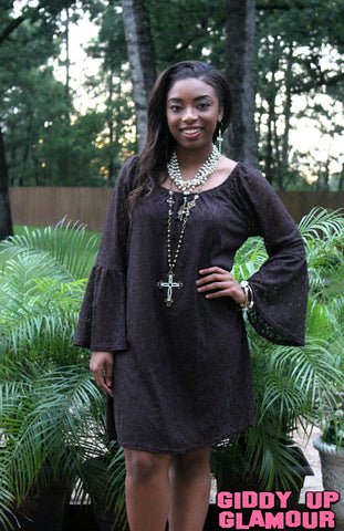 Lace The Facts Dress in Chocolate Brown